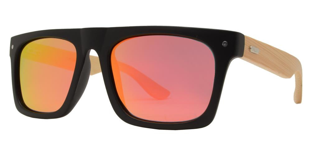 Wholesale - PL 2014 RVC - Polarized Bamboo Rectangular Flat Top with Color Mirror Lens Sunglasses - Dynasol Eyewear
