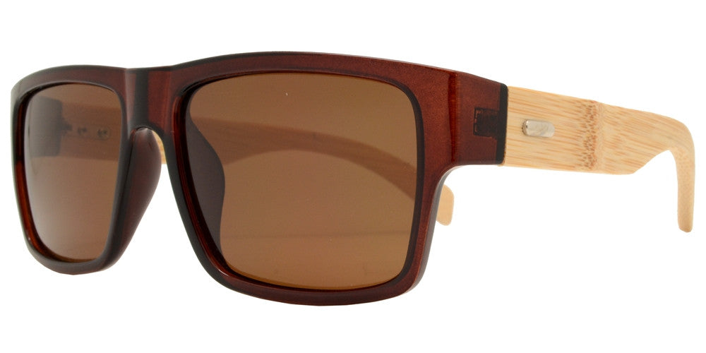 Wholesale - PL 2019 - Polarized Bamboo Horn Rimmed Rectangular Sunglasses - Dynasol Eyewear
