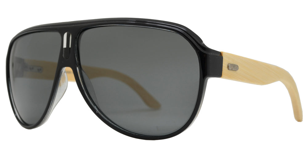 Wholesale - PL 2020 - Bamboo Polarized Retro Flat Top Sunglasses - Dynasol Eyewear