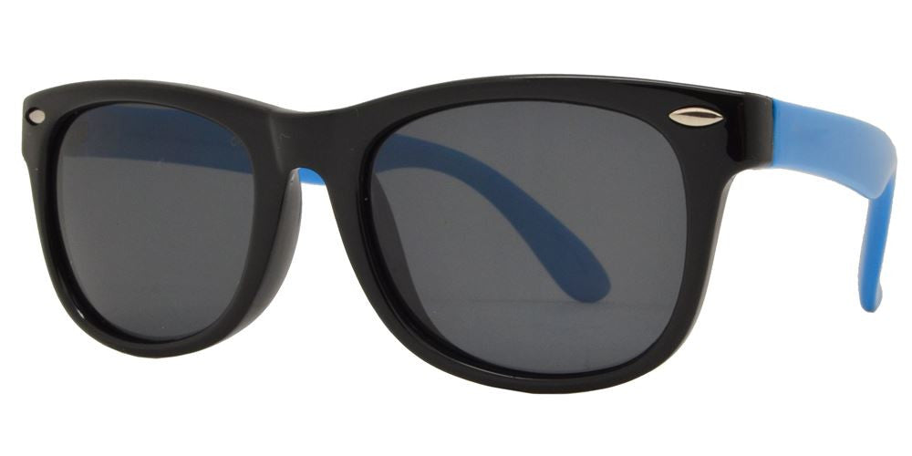 Wholesale - PL 3007 - Polarized Kids TR90 Rubber Classic Horn Rimmed Sunglasses - Dynasol Eyewear