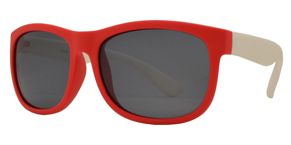 Dynasol Eyewear - Wholesale Sunglasses - PL 3010 - Polarized Kids TR90 Rubber Rectangular Horn Rimmed Sunglasses - sunglasses
