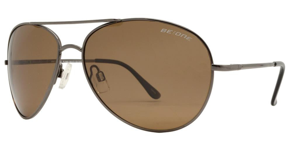 Wholesale - PL 3900 - Polarized Brow Bar Aviator Metal Sunglasses - Dynasol Eyewear