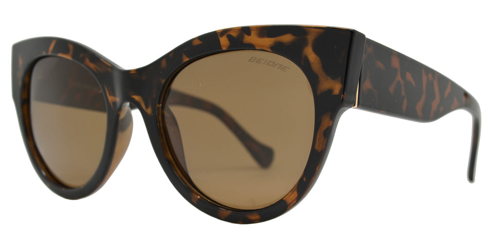 Wholesale - PL 3945 - Round Horn Rimmed Cat Eye Chunky Plastic Polarized Sunglasses - Dynasol Eyewear