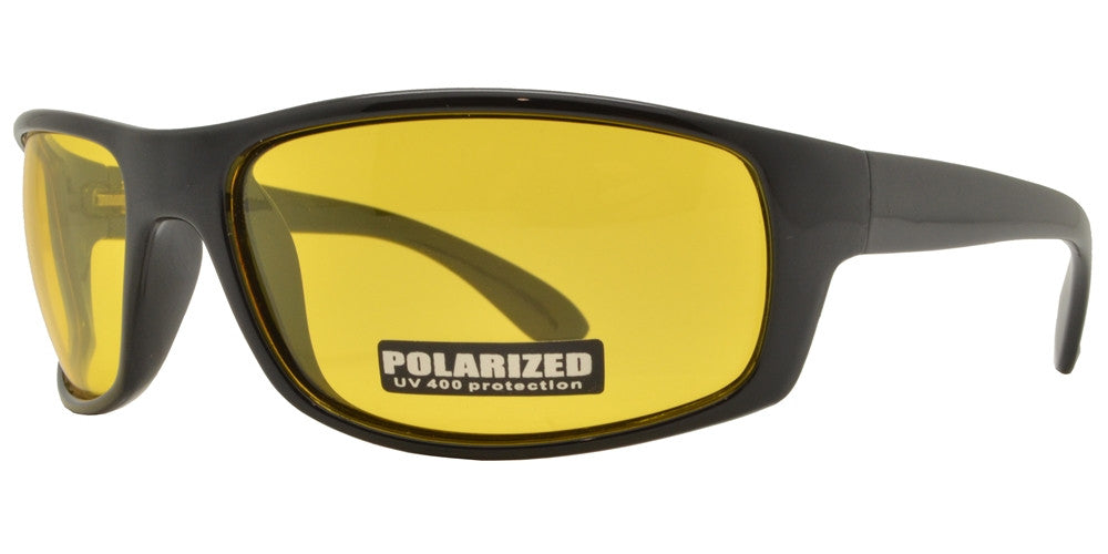 Wholesale - PL 707 NV - Classic Sports Plastic Wrap Around Polarized Sunglasses with Night Vision - Dynasol Eyewear