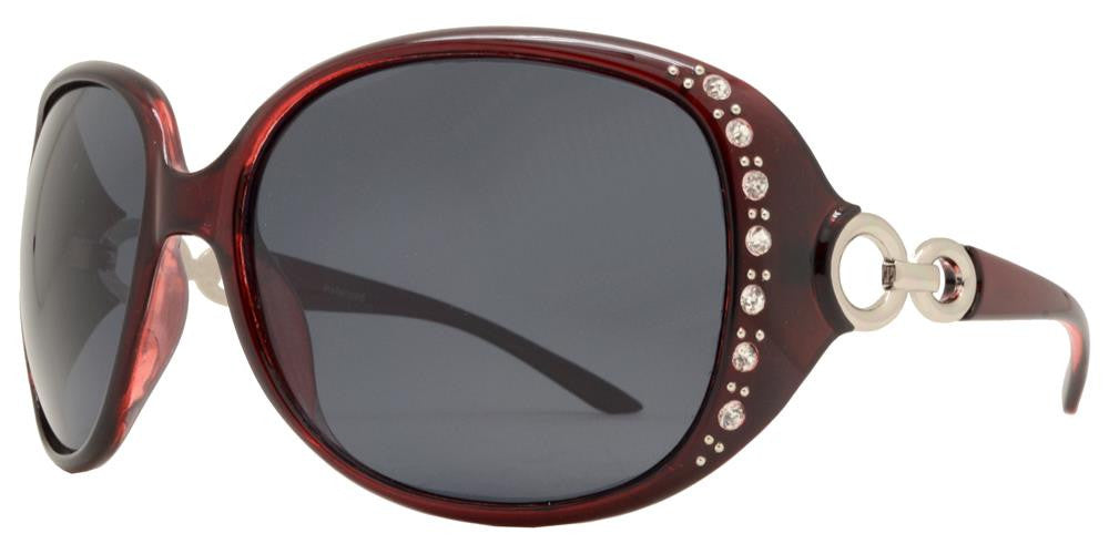 Dynasol Eyewear - Wholesale Sunglasses - PL 7304 BX - Women's Plastic Butterfly Polarized Sunglasses with Rhinestones - sunglasses