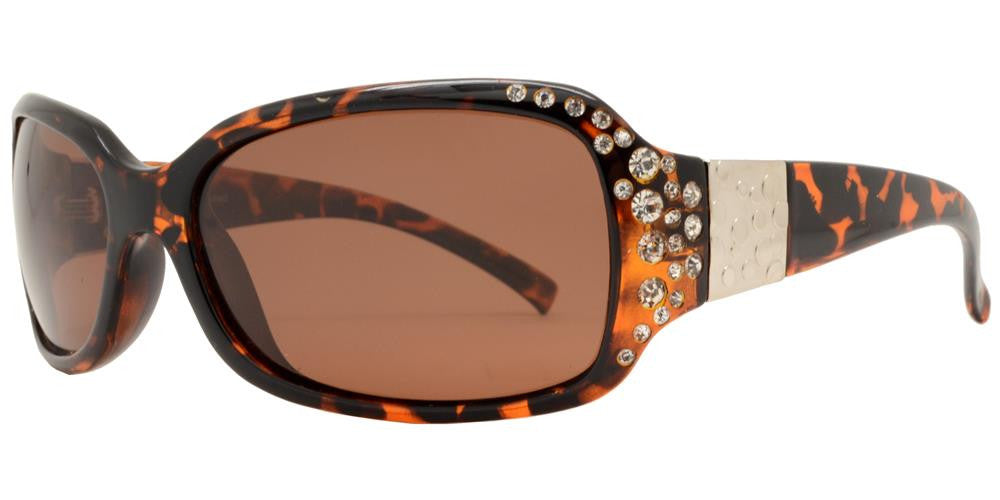 Dynasol Eyewear - Wholesale Sunglasses - PL 7372 BX - Women's Rectangular Polarized Sunglasses with Rhinestones and Metal Accent - sunglasses
