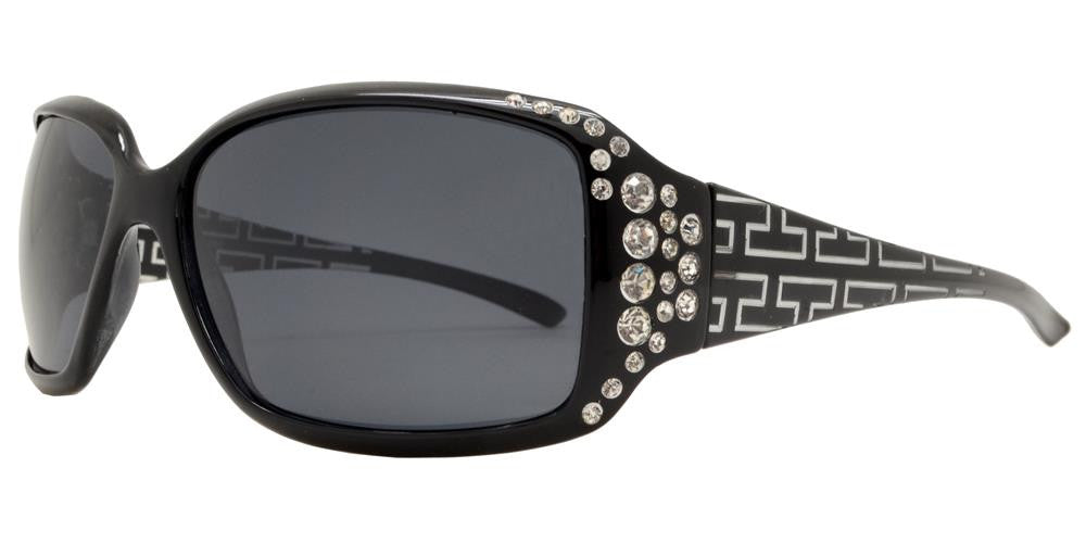 Dynasol Eyewear - Wholesale Sunglasses - PL 7420 - Women's Polarized Square Sunglasses with Rhinestones and Pattern Temple - sunglasses