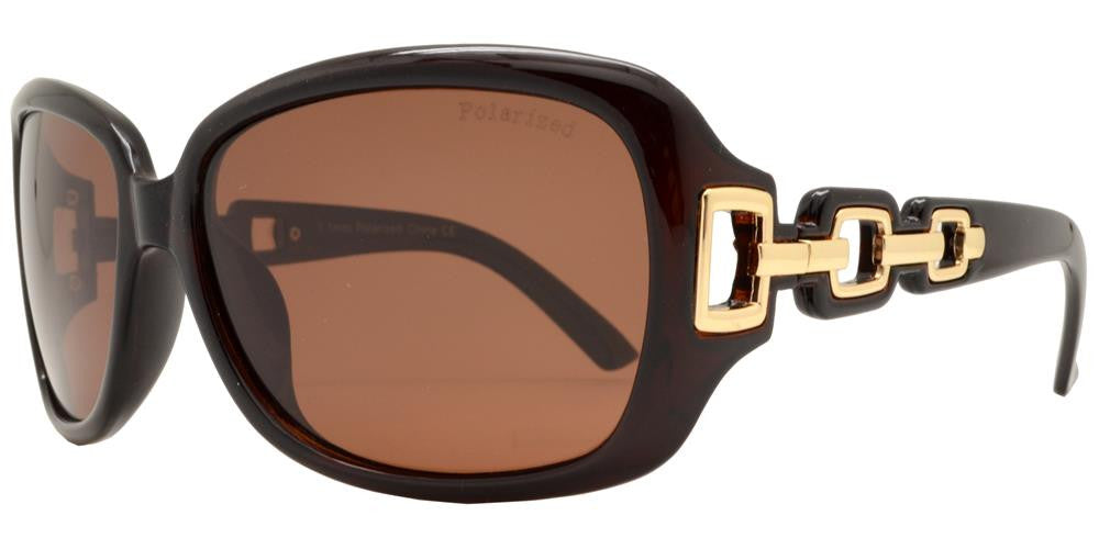 Dynasol Eyewear - Wholesale Sunglasses - PL 7521 - Women's Square Polarized Sunglasses with Chain Detail Temple - sunglasses