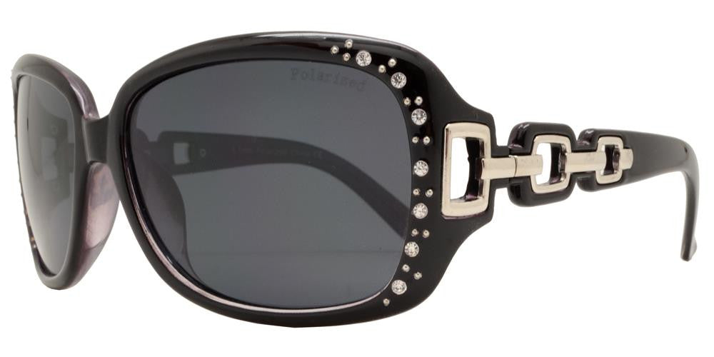 Dynasol Eyewear - Wholesale Sunglasses - PL 7521 BX - Women's Square Polarized Sunglasses with Chain Detail Temple and Rhinestones - sunglasses