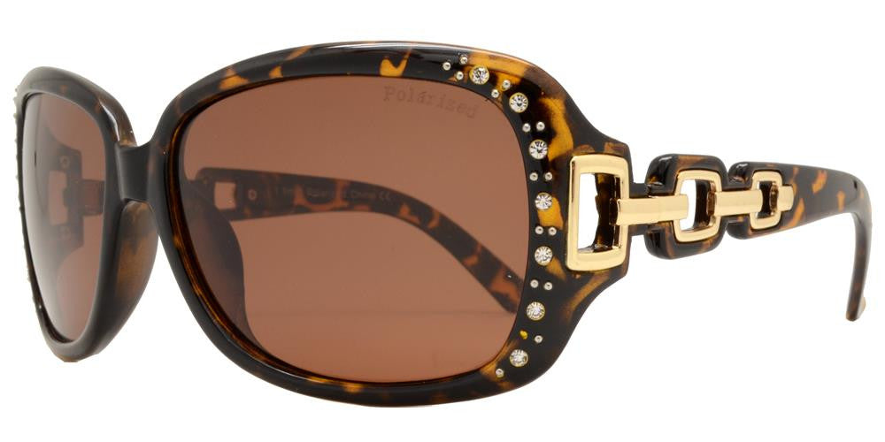 Wholesale - PL 7521 BX - Women's Square Polarized Sunglasses with Chain Detail Temple and Rhinestones - Dynasol Eyewear
