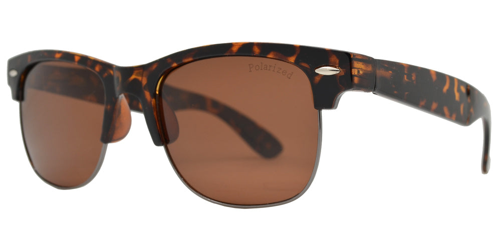 Dynasol Eyewear - Wholesale Sunglasses - PL 7583 - Classic Plastic Half Rimmed Polarized Sunglasses - sunglasses
