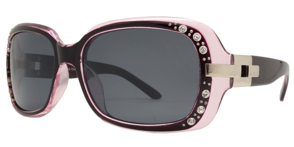 Wholesale - PL 7585 BX - Women's Square Fashion Plastic Polarized Sunglasses with Rhinestones - Dynasol Eyewear