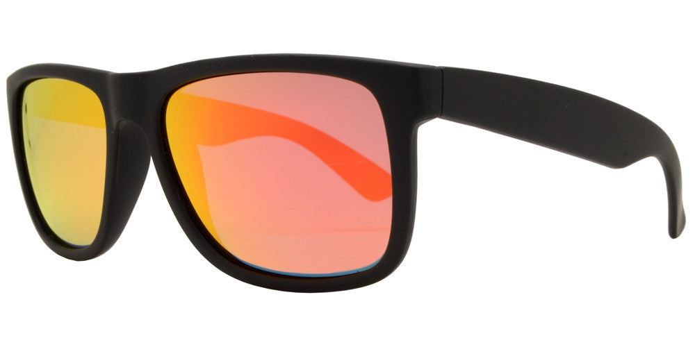 Dynasol Eyewear - Wholesale Sunglasses - PL 7619 RVC - Classic Square Sports Plastic Polarized Sunglasses with Color Mirror Lens - sunglasses