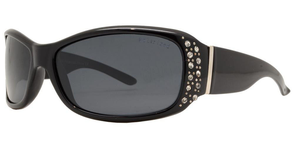 Dynasol Eyewear - Wholesale Sunglasses - PL 7808 BX - Women's Rectangular Polarized with Metal Accent and Rhinestones - sunglasses