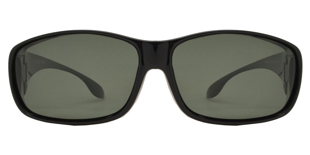 Wholesale - PL 8675 - Plastic Cover Over Rectangular Polarized Sunglasses - Dynasol Eyewear