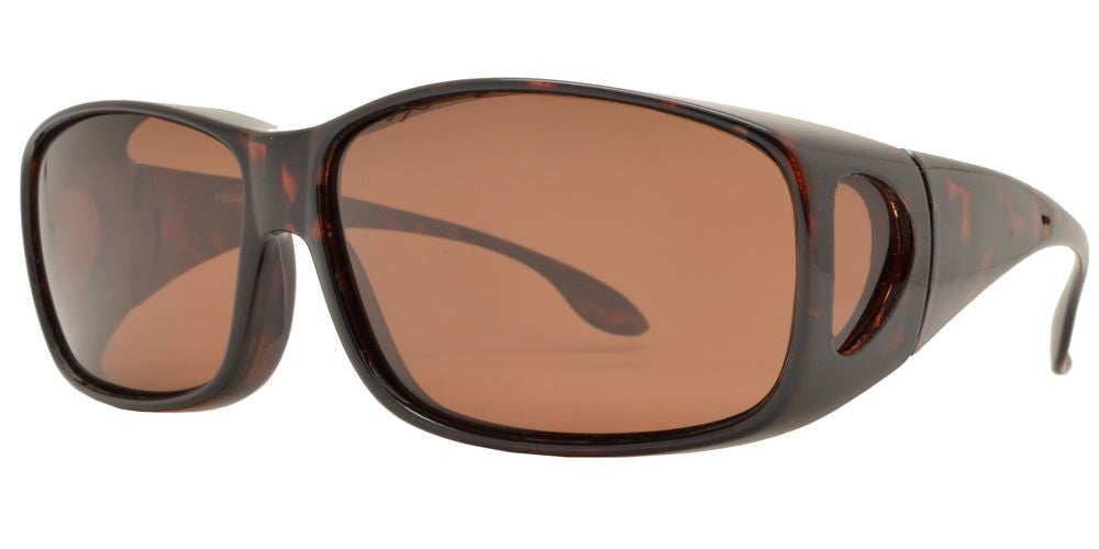 Dynasol Eyewear - Wholesale Sunglasses - PL 8675 - Plastic Cover Over Rectangular Polarized Sunglasses - sunglasses