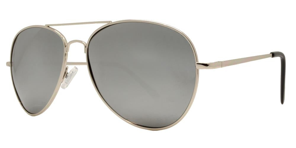 Dynasol Eyewear - Wholesale Sunglasses - PL 9090 Chrome - Classic Chrome Metal Aviator Polarized Sunglasses with Mirror Lens - sunglasses