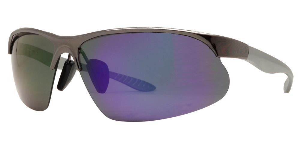 Wholesale - PL 967 RVC - Aluminum Half Rim Sports Polarized Sunglasses with Color Mirror Lens - Dynasol Eyewear