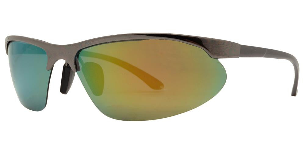 Wholesale - PL 969 RVC - Aluminum Half Rim Sports Polarized Sunglasses with Color Mirror Lens - Dynasol Eyewear