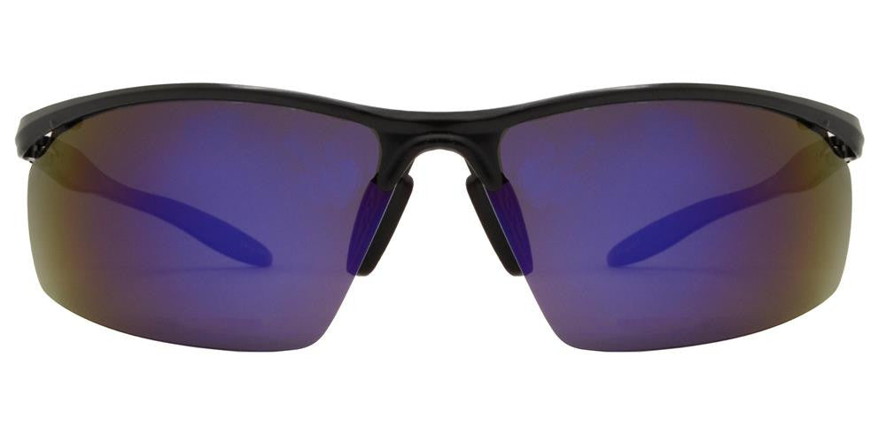 Wholesale - PL 982 RVC - Aluminum Rectangular Half Rimmed Sports Rimless Polarized Sunglasses with Color Mirror Lens - Dynasol Eyewear