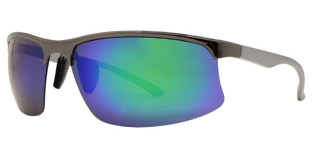 PL 983 RVC - Aluminum Rectangular Half Rimmed Sports Rimless Polarized Sunglasses with Color Mirror Lens