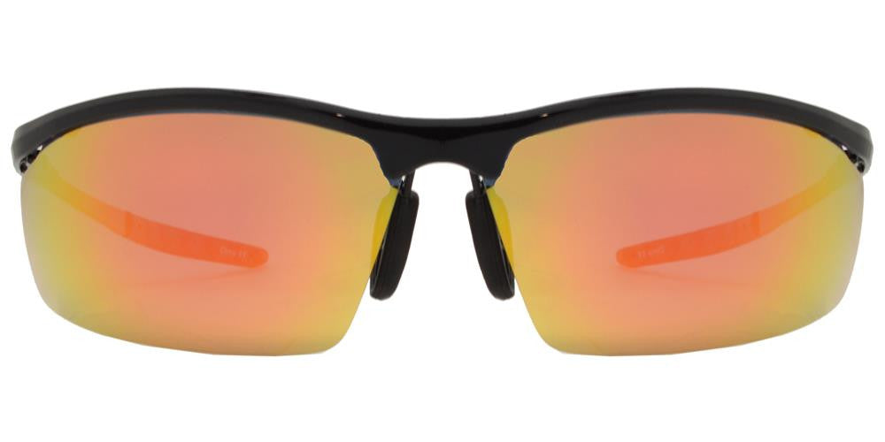 Wholesale - PL 985 RVC - Aluminum Rectangular Half Rimmed Sports Rimless Polarized Sunglasses with Color Mirror Lens - Dynasol Eyewear