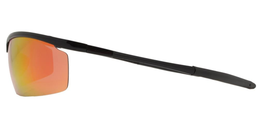 Dynasol Eyewear - Wholesale Sunglasses - PL 985 RVC - Aluminum Rectangular Half Rimmed Sports Rimless Polarized Sunglasses with Color Mirror Lens - sunglasses