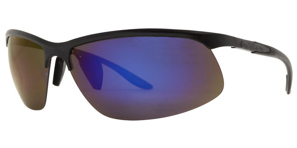 Wholesale - PL 986 RVC - Aluminum Rectangular Half Rimmed Sports Rimless Polarized Sunglasses with Color Mirror Lens - Dynasol Eyewear
