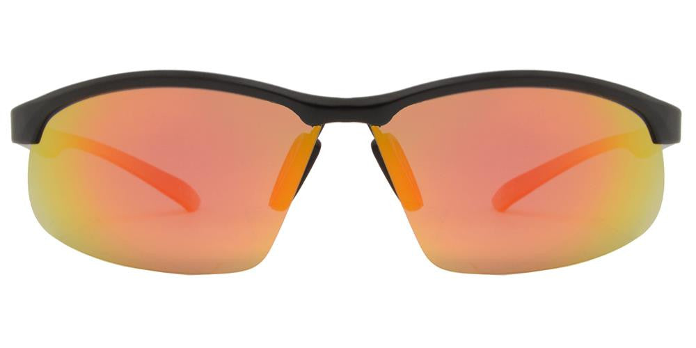 Wholesale - PL 989 RVC - Aluminum Rectangular Half Rimmed Sports Rimless Polarized Sunglasses with Color Mirror Lens - Dynasol Eyewear