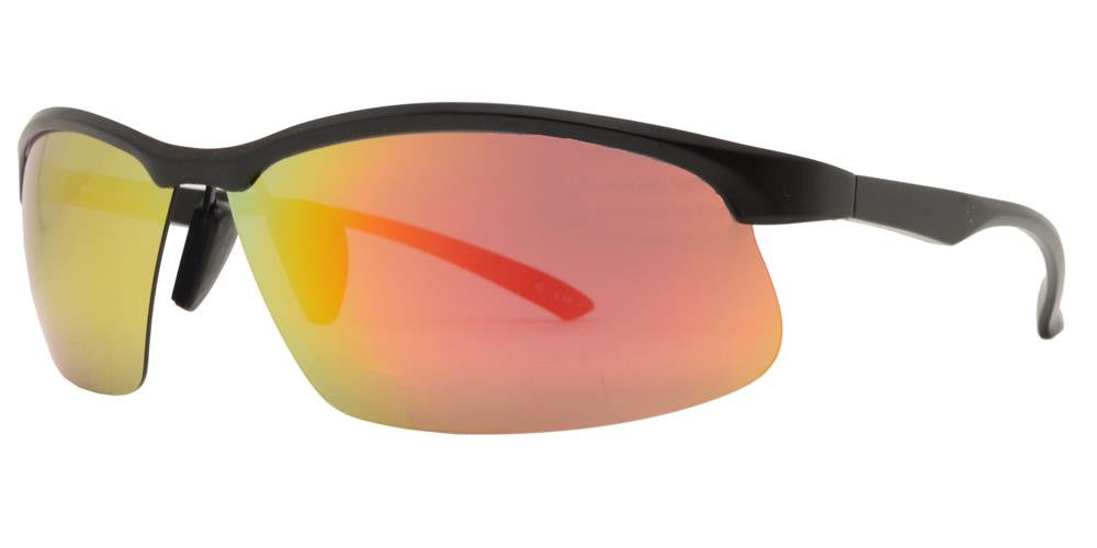 PL 989 RVC - Aluminum Rectangular Half Rimmed Sports Rimless Polarized Sunglasses with Color Mirror Lens