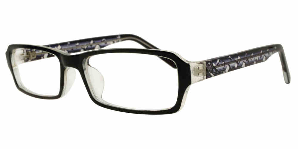 PZ 1307 - Rectangular Clear Lens Plastic Sunglasses