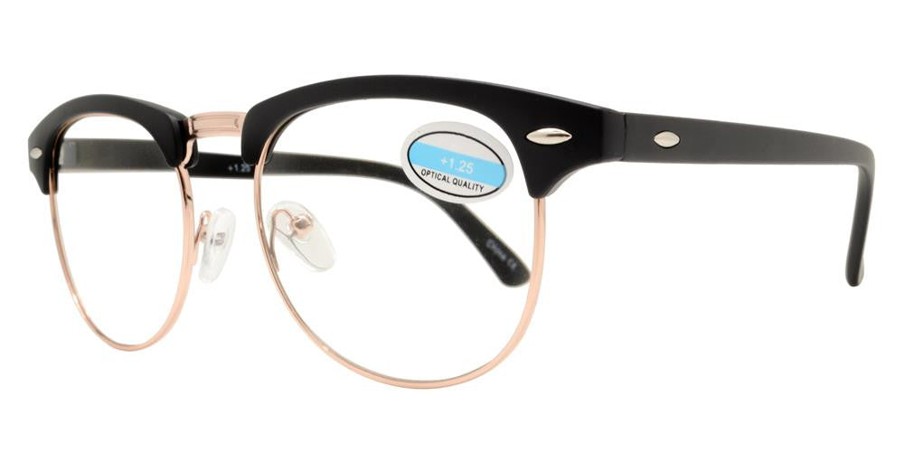 Wholesale - RS 1012 - Classic Horn Rimmed Half Rimmed with Metal Bridge Plastic Reading Glasses - Dynasol Eyewear