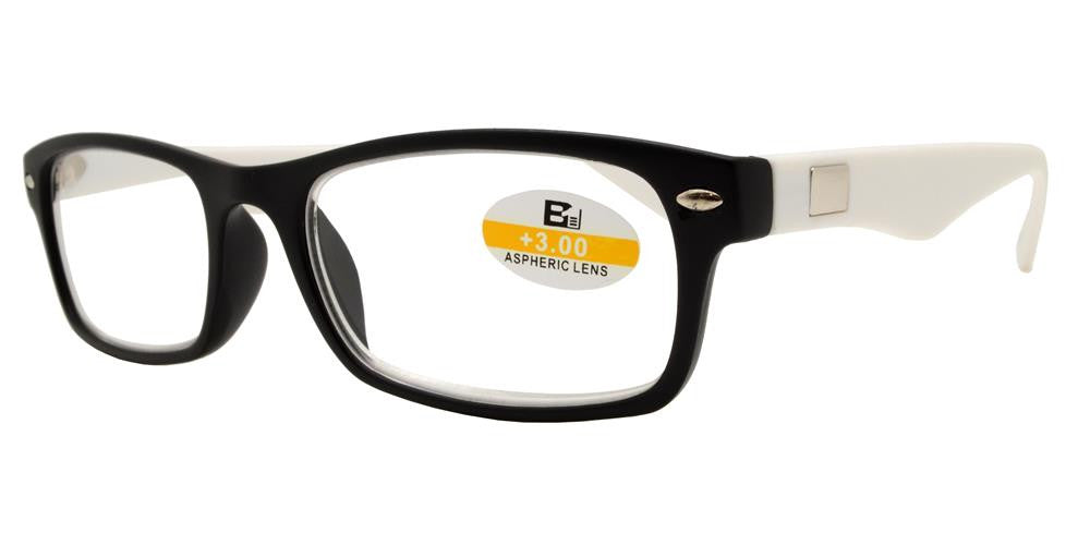 Wholesale - RS 1112 - Rectangular Classic Horn Rimmed Two Tone Plastic Reading Glasses - Dynasol Eyewear
