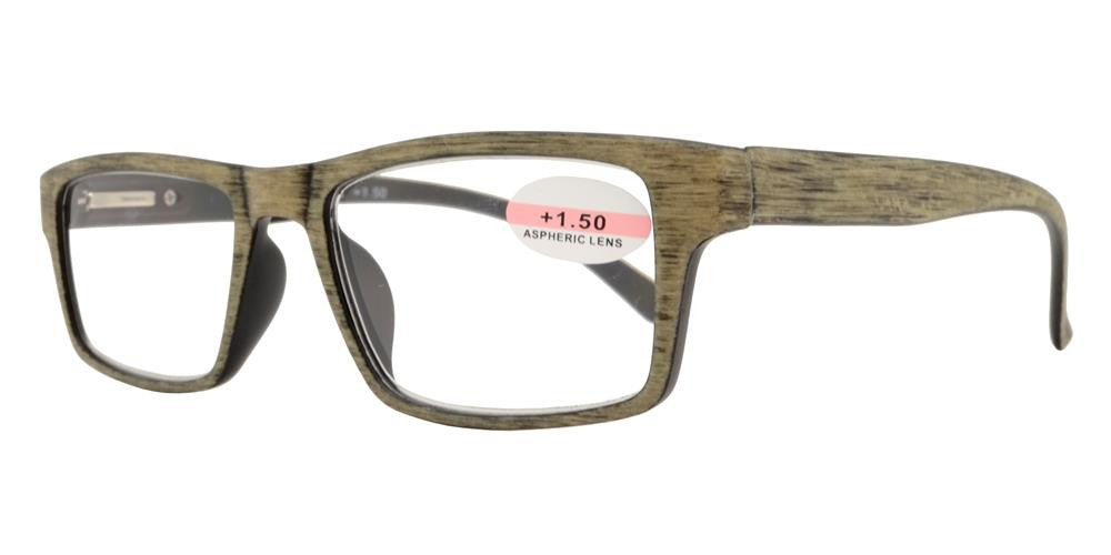 Dynasol Eyewear - Wholesale Sunglasses - RS 1147 - Rectangular Horn Rimmed Faux Wood Finish Plastic Reading Glasses - reader