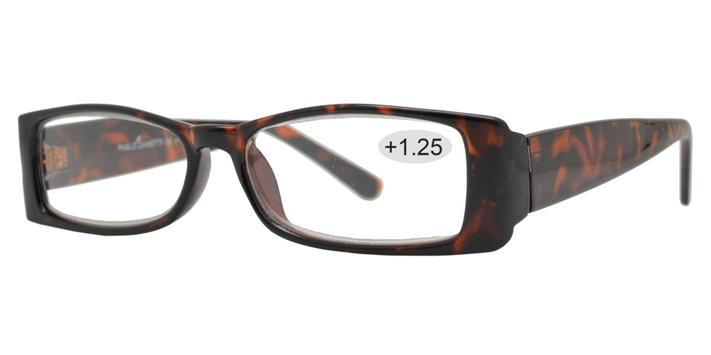 Wholesale - RS 1072 +1.25 - Rectangular Plastic Reading Glasses - Dynasol Eyewear