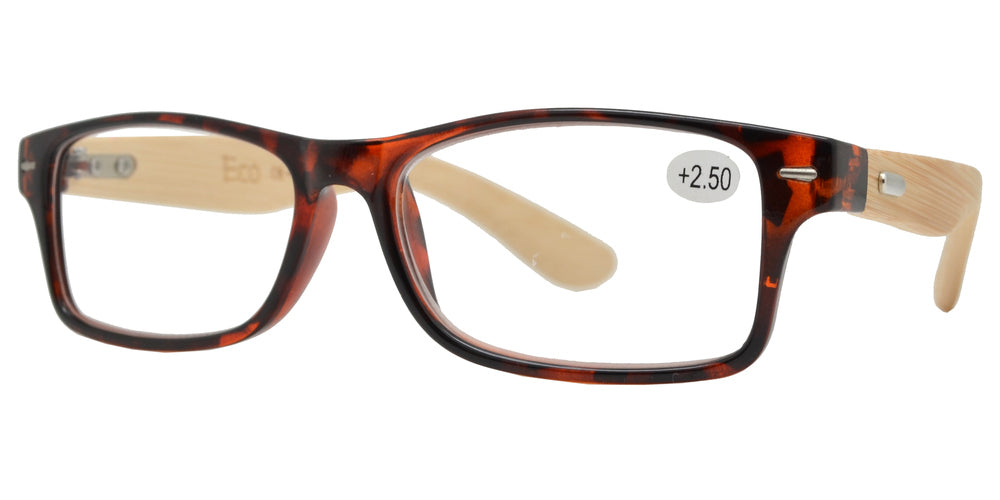 Wholesale - RS 1131 - Rectangular Horn Rimmed with Bamboo Temple Plastic Reading Glasses - Dynasol Eyewear