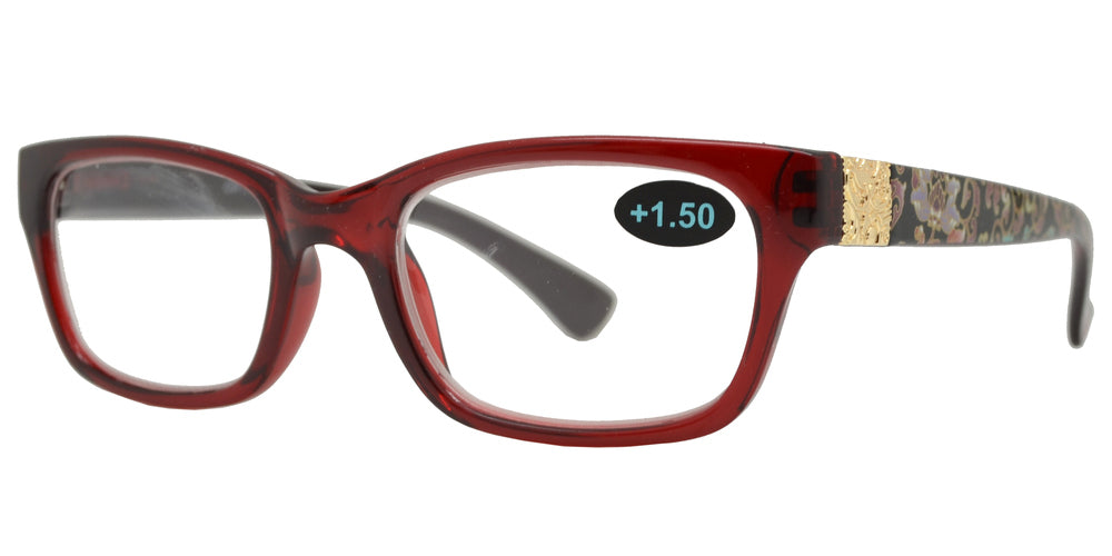 Wholesale - RS 1198 - Rectangular Plastic Reading Glasses with Flower Design - Dynasol Eyewear