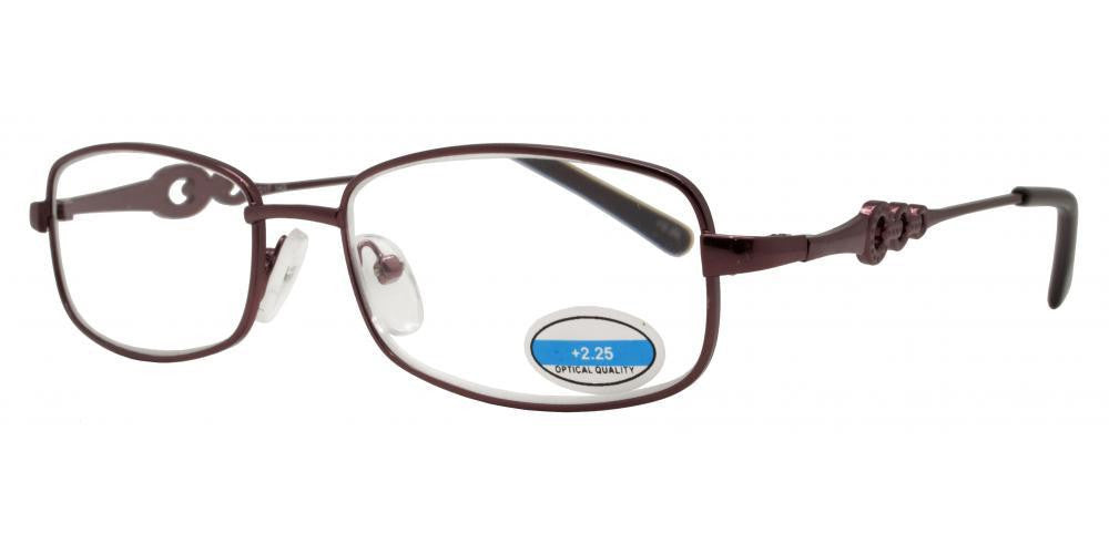 Wholesale - RS 1203 - Oval Frame Chain Detail on Temple Metal Reading Glasses - Dynasol Eyewear