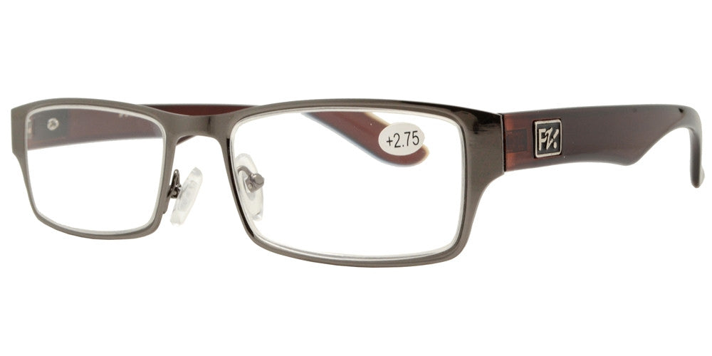 Dynasol Eyewear - Wholesale Sunglasses - RS 1265 - Rectangular Horn Rimmed Metal Reading Glasses - reader