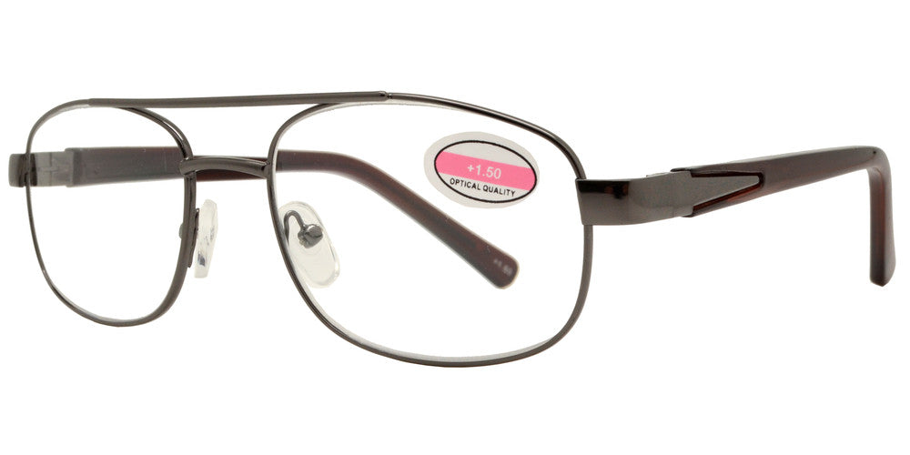 Wholesale - RS 1283 - Square Aviator with Brow Bar Metal Reading Glasses - Dynasol Eyewear