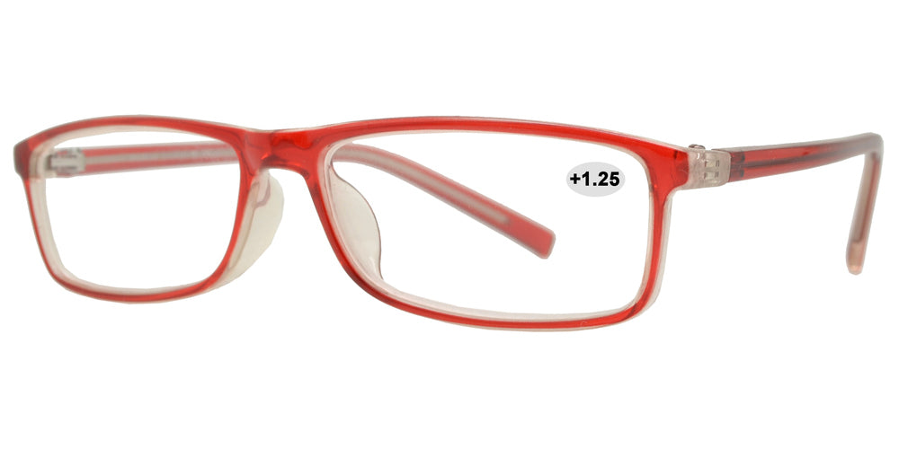 Wholesale - RS 1303 +1.25 - Plastic Rectangular Reading Glasses - Dynasol Eyewear
