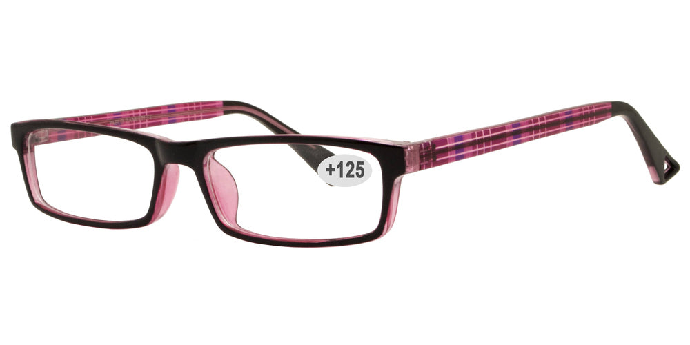 Wholesale - RS 1306 +1.25 - Rectangular Plastic Reading Glasses - Dynasol Eyewear