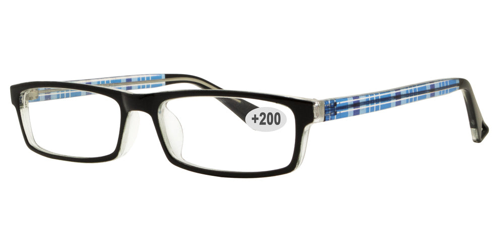 Wholesale - RS 1306 +2.00 - Rectangular Plastic Reading Glasses - Dynasol Eyewear