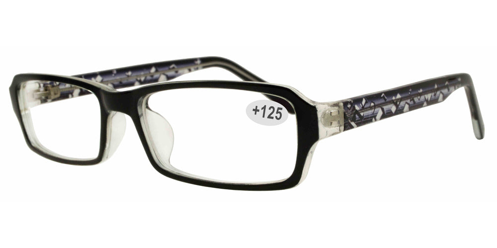Wholesale - RS 1307 +1.25 - Rectangular Plastic Reading Glasses - Dynasol Eyewear