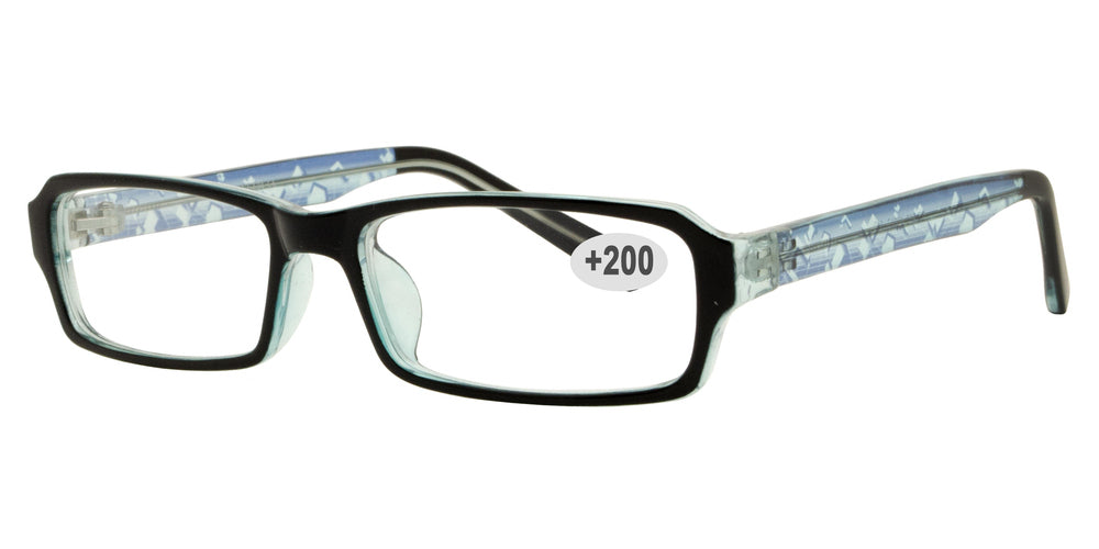 Wholesale - RS 1307 +2.00 - Rectangular Plastic Reading Glasses - Dynasol Eyewear