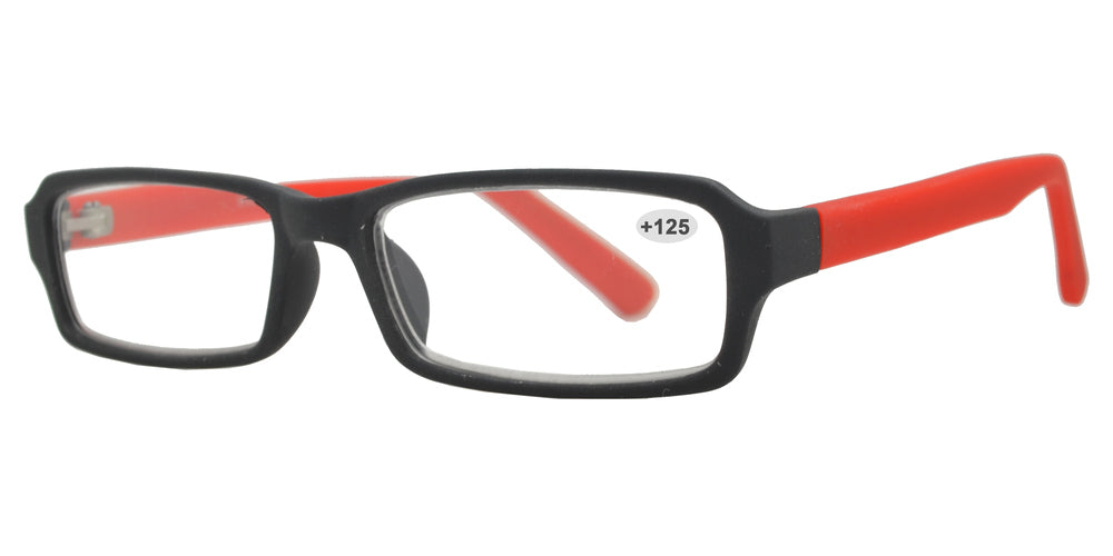 Wholesale - RS 1308 +1.25 - Rectangular Plastic Reading Glasses - Dynasol Eyewear