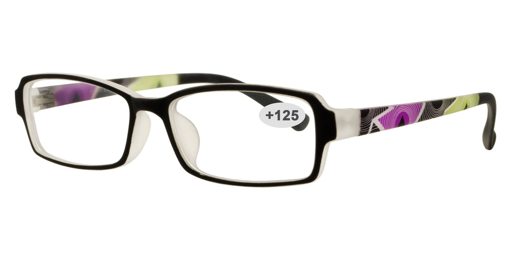 Wholesale - RS 1312 +1.25 - Rectangular Plastic Reading Glasses - Dynasol Eyewear