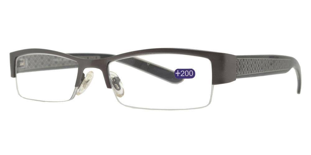 Wholesale - RS 1357 +2.00 - Metal Semi Rimless Reading Glasses - Dynasol Eyewear
