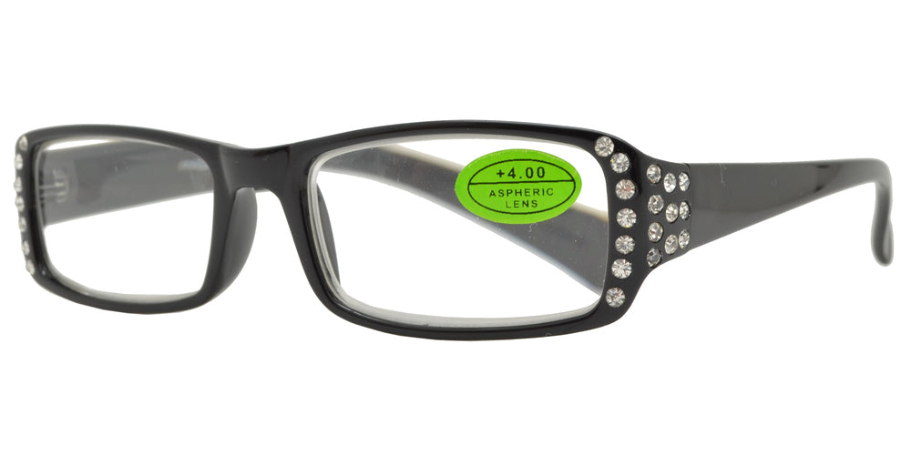 RS 1416 +4.00 - Plastic Reading Glasses with Rhinestones