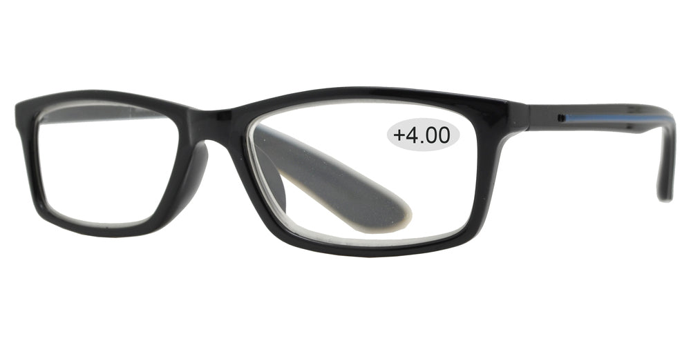 Wholesale - RS 1421 +4.00 - Rectangular Plastic Reading Glasses - Dynasol Eyewear